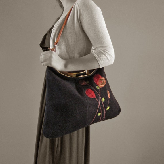 Recycled Gray Cashmere Handbag with Colorful Floral Applique