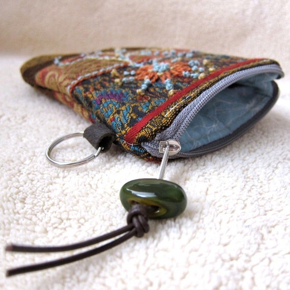 Embroidered Zippered iPhone Case iPod Wallet Key Pouch