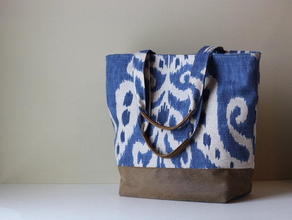Recycled Leather & Cotton Ikat Tote Summer Blue Brown and Tan