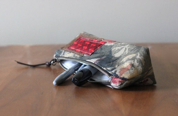 NEW Large Artist's Pouch Zippered Cotton & Recycled Leather
