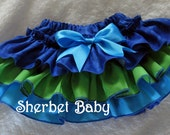 Carribean Kai Sassy Pants Ruffle Panty Diaper Cover Tropical Royal Blue Green Peacock