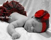 Sassy Pants Red Plaid Ruffle Diaper Cover Panty & Fluffy Fabric Flower Hair Clip with Headband Tartan Plaid with Bow