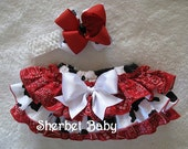 Double Hairbow and Howdy Y'all - Bandana and Cow Print Sassy Pants Ruffle Panty Diaper Cover Red Black and White