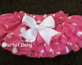 READY TO SHIP 3 - 6 months Hot Pink Polka Dots Sassy Pants Ruffle Diaper Cover Panty Bloomer
