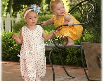 Bubble Romper Yellow and Pink Fabrics by Moda with Monogram Option Baby Toddler Girl
