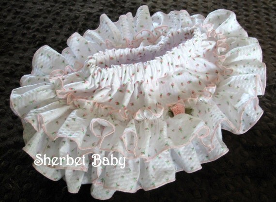 Original All Around Ruffle Sassy Pants Diaper Cover Panty Skirt Fabric Tutu This is Over the Top Cute in  White with Pink Rosebud Print