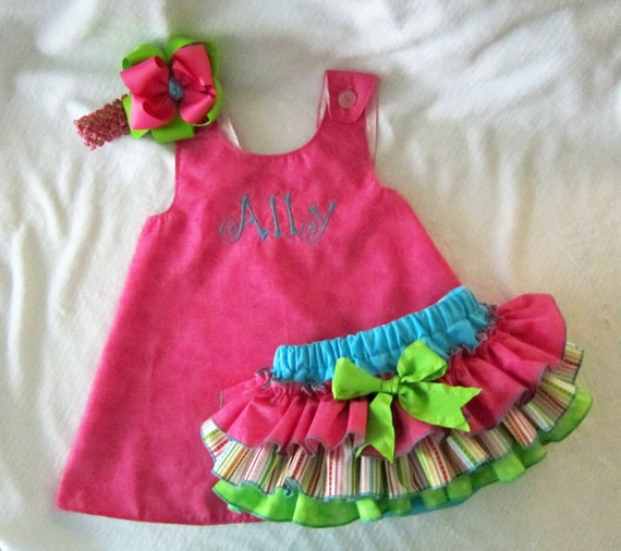 Pinafore Dress and Sassy Pants Ruffled Diaper Cover Set Candy Shop Monogram Available Hot Pink Green Blue