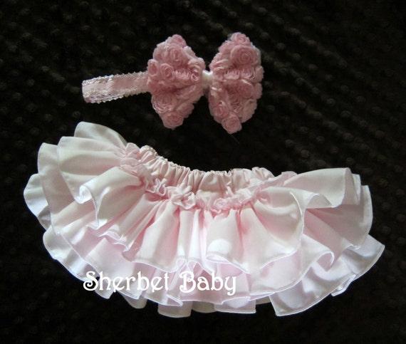 Original Sassy Pants Ruffle Diaper Cover Bloomer Shabby Chic Pink Rose Hair Bow and Headband