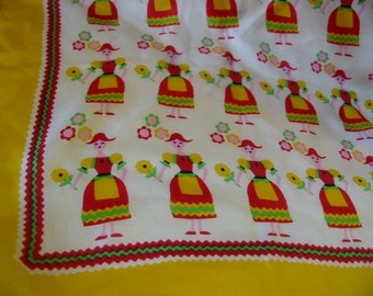 Pretty Maids All In A Row Colorful Vintage Scandinavian Style Scarf