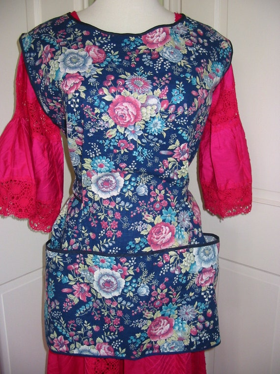 Handmade Vintage Cotton Full Apron Multicolor Floral Cook to Your Hearts Content And Stay Protected