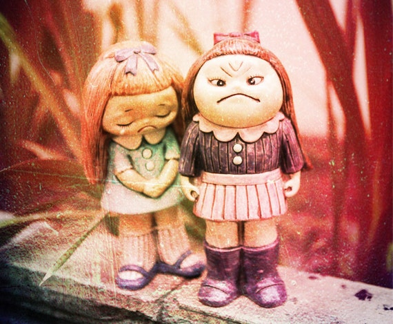 The emotional girl statues happy sad mad