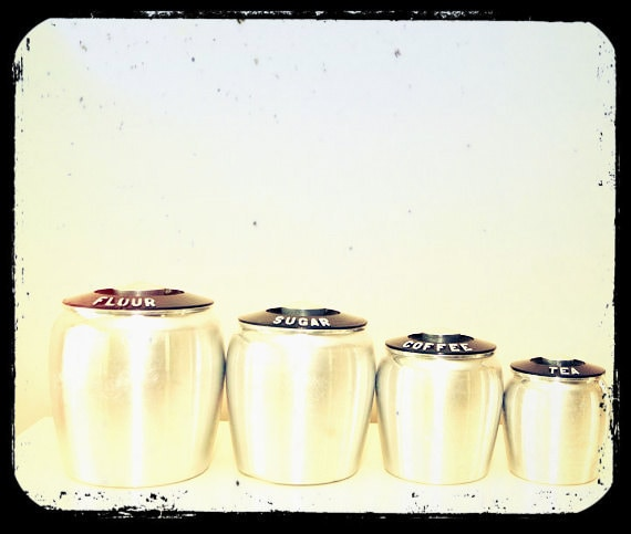 Fab 50s silver and black cannister set