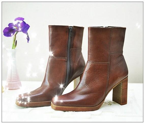 Brazilian brown leather high heel boot women size 6.5 6