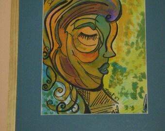 Abstract Female Face OUTSIDER Folk Art