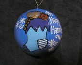 Happy Hanukkah Ornament with Teddybear and Menorah( Item number 504)