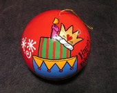 Reserve Ornament ORDER  for Queeneve Happy Birthday Ornament with Cake
