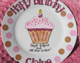 Hand Painted Happy Birthday PLATE . Frosted Cupcake with Sprinkles . Personalized Birthday Gift for Baby Girl