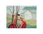 red bicycle with paint by number background print