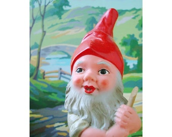strolling gnome with paint by number background print