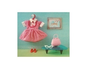 another red gingham doll dress print