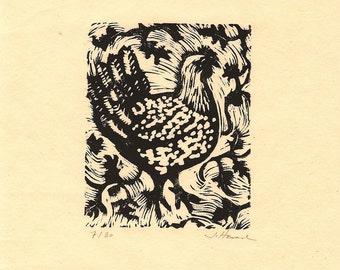 Linocut print, Hen in Tomato Vines