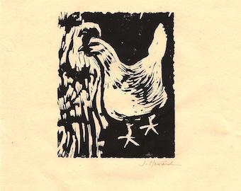 Linocut print, White Hen