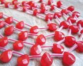 Czech Beads, Opaque Red, Czech Fire Polish Glass Beads, Faceted Pear, 8mm x 10mm, Full Strand, Weddings, Brides Bridal, SKU 2744A