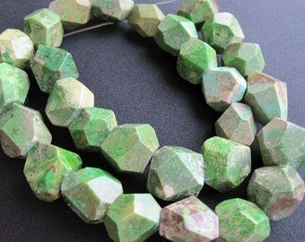 Green Turquoise Beads, Faceted Nuggets, 18mm x 20mm, SKU 3102