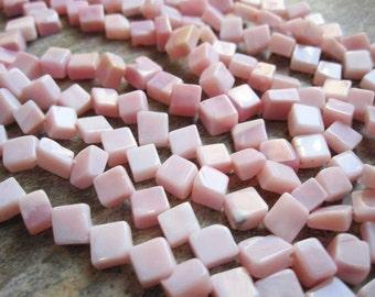 Pink Peruvian Opal Beads, Pink Opal Beads, Peruvian Opal Beads, Faceted Diamond Cut, 5mm to 6mm, Pink Gemstone, SKU 1098