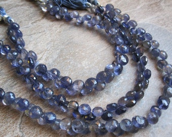 Iolite Beads Onion Briolettes, Faceted Onion Drops, Midnight Blue, SKU 2073A