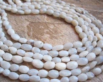 Owyhee Blue Opal Beads, Natural Owyhee Beads, Faceted Oval, Owyhee Opal, Oregon Opal, Faceted Oval, 6mm x 8mm, Powder Blue, SKU 2447