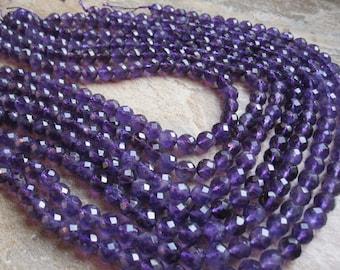 Amethyst Beads, Faceted Round, 7.5mm Round, February Birthstone, Purple Gemstone Beads, SKU 4981