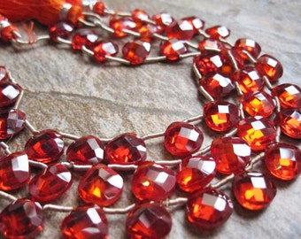 Cubic Zirconia Beads Briolettes, CZ Beads, Red Orange CZ, Faceted Heart Briolettes, 8mm, Full Strand, Weddings, SKU 2791
