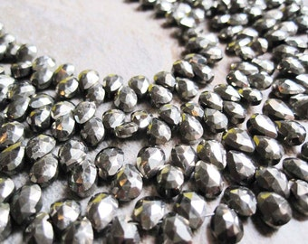 Faceted Pyrite Beads, Luxe AAA, Faceted Pear, Briolettes, 4.5mm x 6mm, Pyrite Beads, Weddings, Brides Bridal, Loveofjewelry, SKU 2857