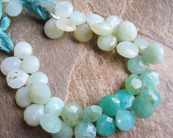 Peruvian Blue Opal Briolette Beads, Faceted Heart Briolettes, 10-11mm, Loveofjewelry, Brides Bridal, SKU 2975A