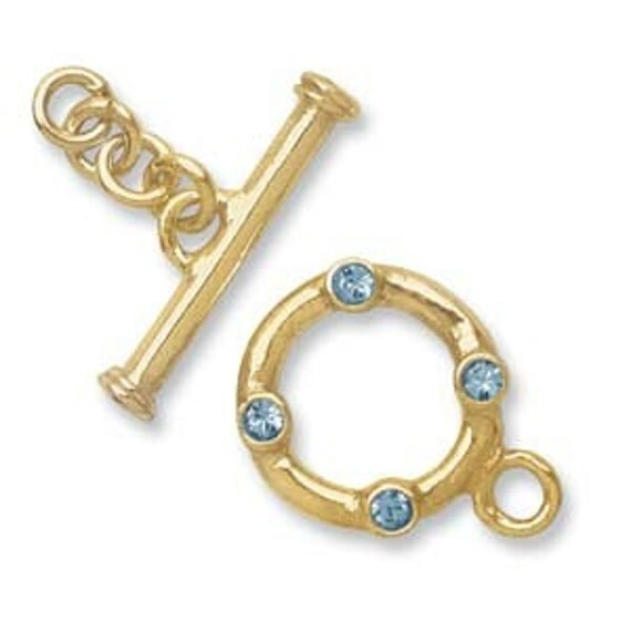 Vermeil Toggle with Aqua Crystal