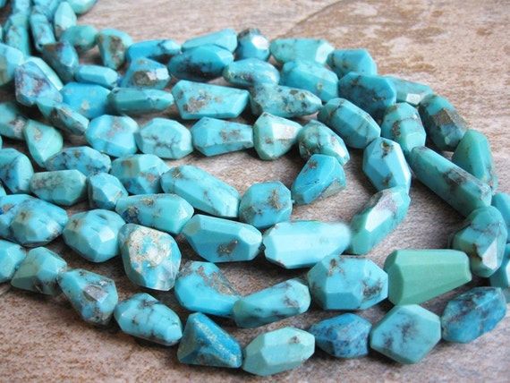 Turquoise Faceted Freeform Nuggets