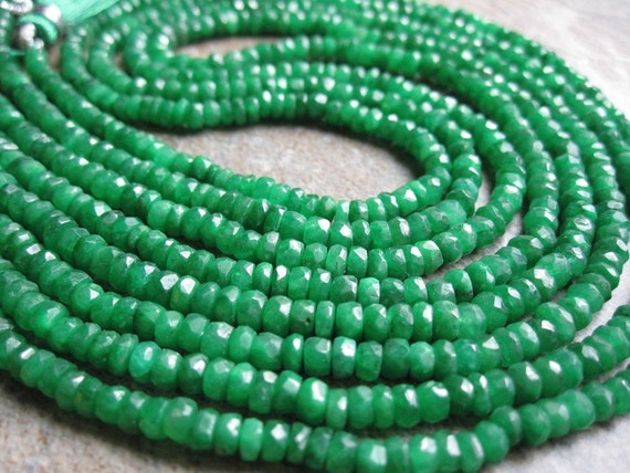 Reserved............Emerald Faceted Rondelles Full 15 inch Strand