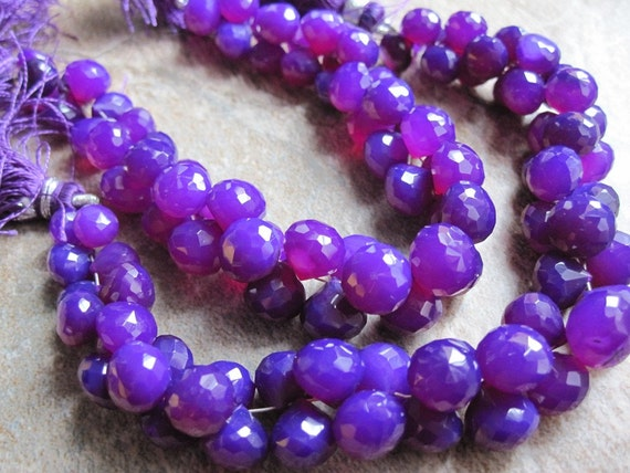 Vibrant Purple Chalcedony Faceted Onion