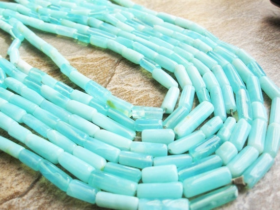 Peruvian Blue Opal  Tube Shape FULL STRAND
