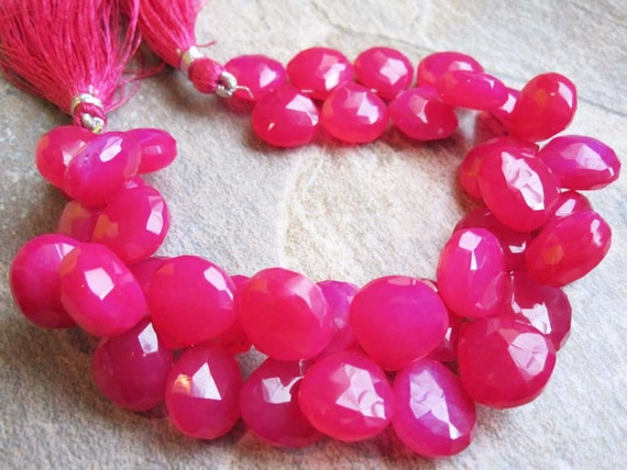 Hot Pink Chalcedony Faceted Briolettes