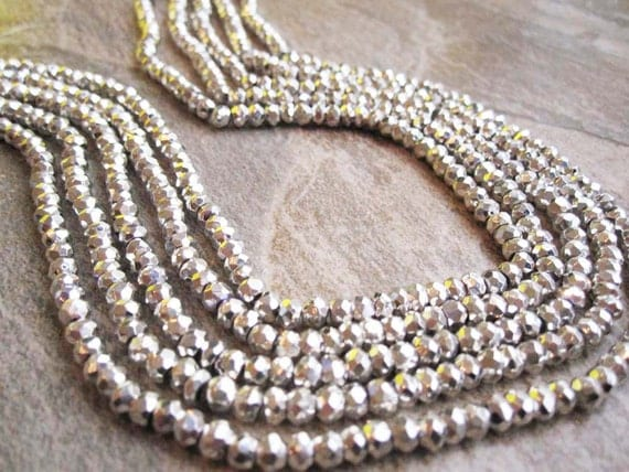 Silver Luster Pyrite Faceted Rondelles FULL STRAND