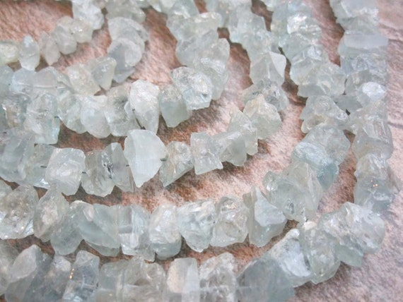 Aquamarine Thick Hammered Nuggets Drilled Like Chips FULL STRAND