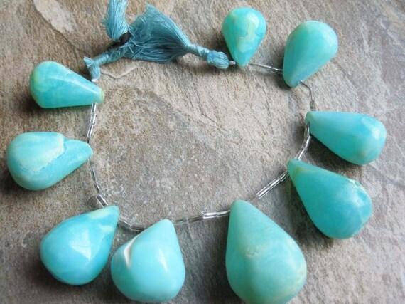 Peruvian Blue Opal Large Smooth Teardrops