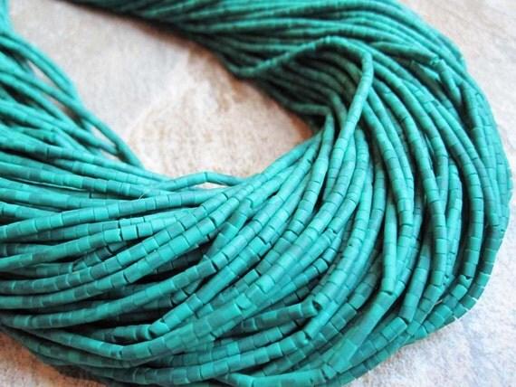 Green Turquoise Little Heishi Shape or Tube Shape FULL STRAND