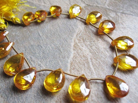 Zircon Natural (NOT CZs) Canary Yellow Color Faceted Pear