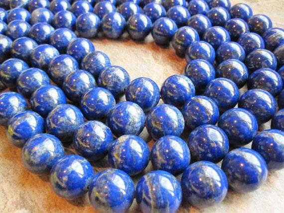 AAA Grade Lapis Lazuli 16mm Smooth Round Full Strand
