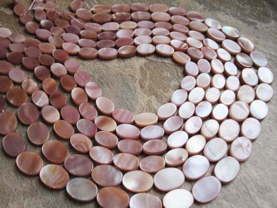 Natural Pink Mother of Pearl Smooth Oval Shape FULL STRAND