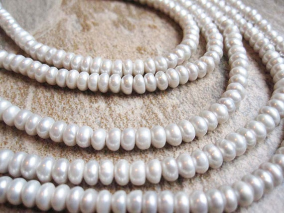 Greyish White Freshwater Pearls Button Shape Full Strand Last One