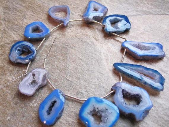 Blue Color Druzy Slabs or Slices Full Strand